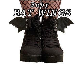 Baby Bat wings shoe accessories, smallest size available, goth , witchy
