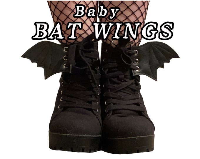Featured listing image: Baby Bat wings shoe accessories, smallest size available, goth , witchy