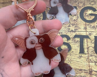 Gizmo Keychain with heart clasp , from Gremlins,  horror , cult classic, pop culture