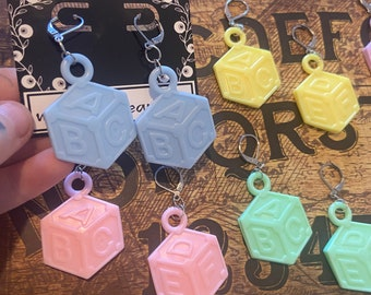 Alphabet baby block earrings, Available in 6 colours
