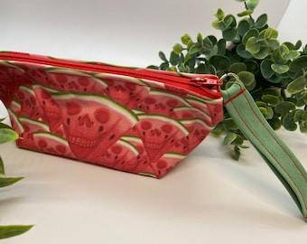 Skull watermelon coin pouch, makeup bag , purse , pencil case