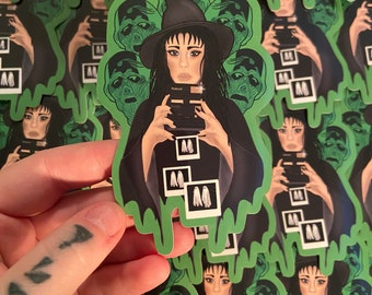 Lydia , beetlejuice ,Polaroid picture of ghosts, green lost souls, sticker , cute laptop decal
