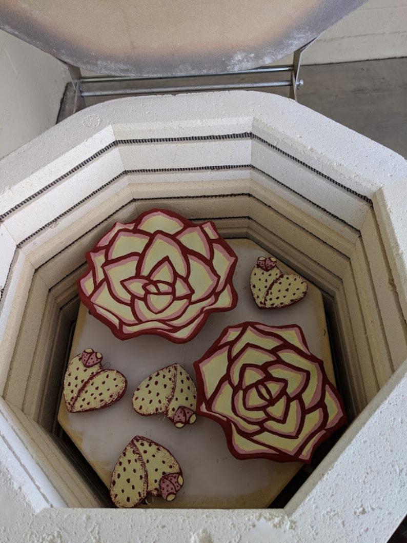 Pottery Cactus Heart Ornament set of 4Cactus Heart gift tagsPottery Cactus OrnamentCactus Heart Mosaic tile