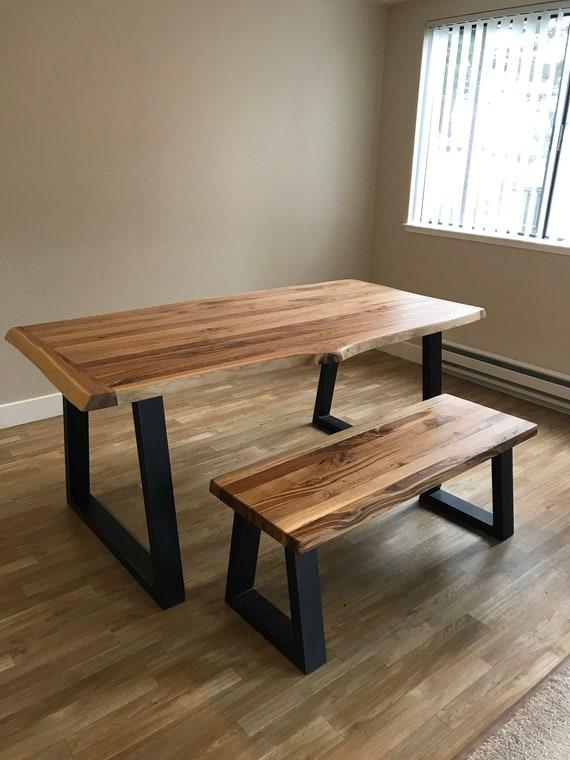 Enjoyable Modern Urban Oak Table With Bench Reclaimed Wood Dining Table With Natural Wood Top Spiritservingveterans Wood Chair Design Ideas Spiritservingveteransorg