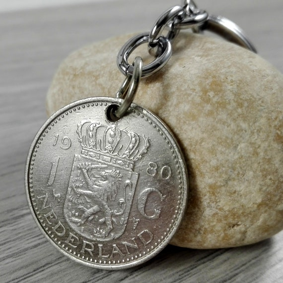 """40th birthday gift 1979 coin keyfob with a /""""40/"""" charm"""