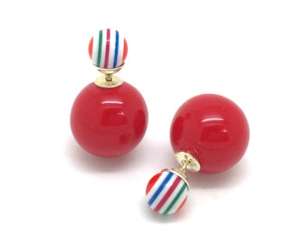 Earrings double red and multicolor beads