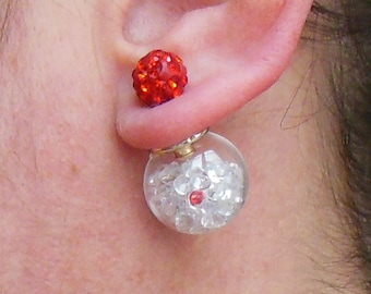 Double earrings bead: glass, transparent crystals, red Pearl with Rhinestone ball