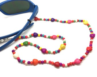 Child - girl - glasses cord beads coloured - it turns into a necklace