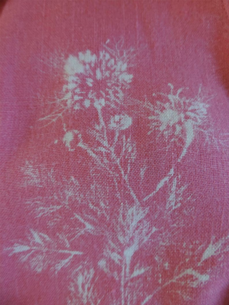 Nosegay of Nigella pink with white print Ecoprint linen blouse