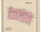 Newlin, PA Witmer 1873 Map Reproduction