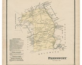 Pennsbury, PA Witmer 1873 Map Reproduction