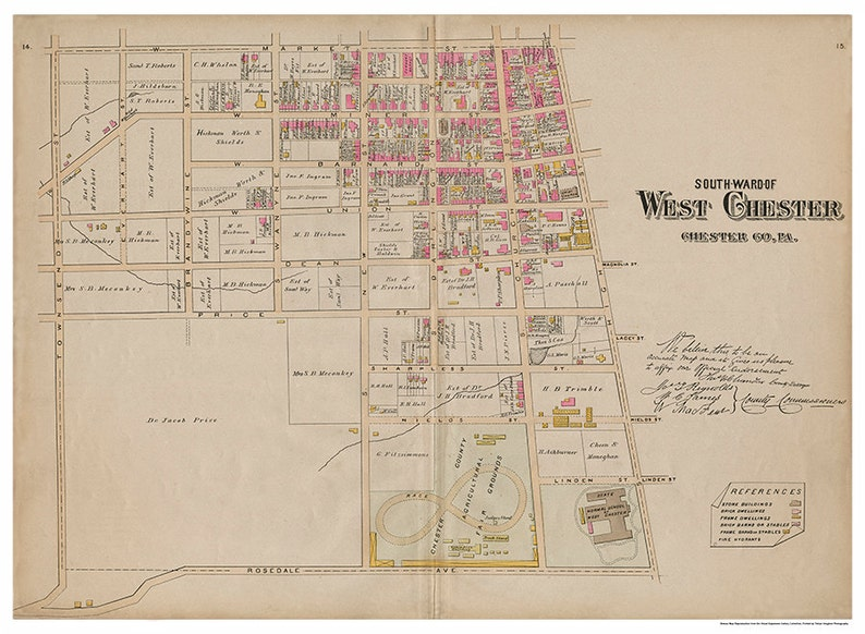 West Chester PA South Ward Breous Atlas 1883 Reproduction image 0