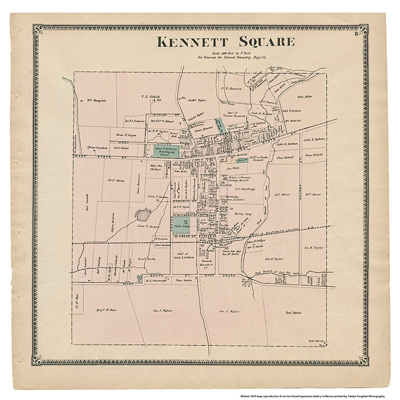 Kennett Square PA Witmer 1873 Map Reproduction image 0