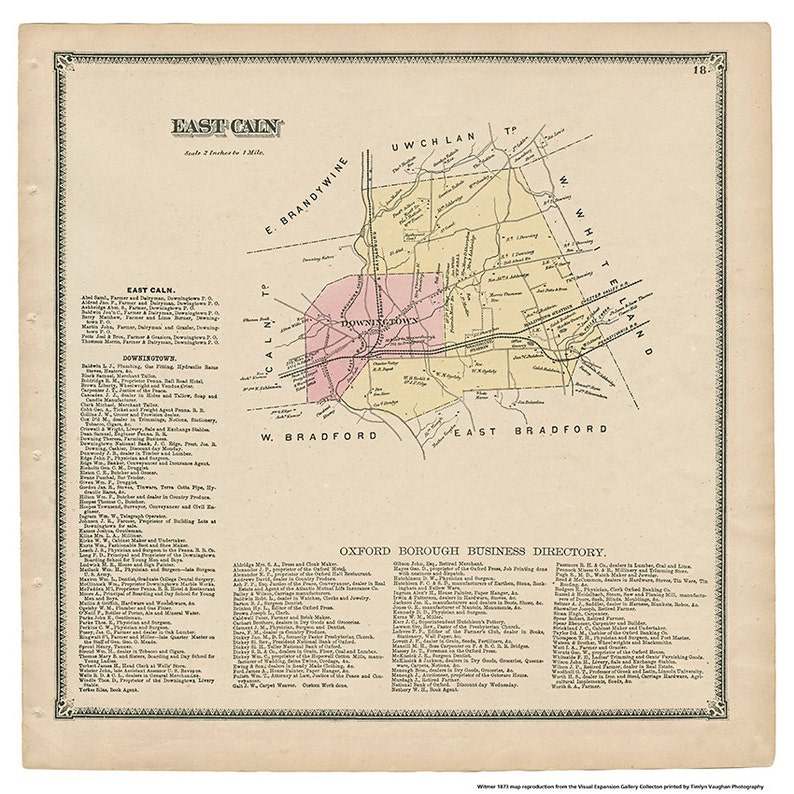 East Caln PA Witmer 1873 Map Reproduction image 0