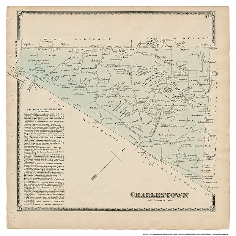 Charlestown PA Witmer 1873 Map Reproduction image 0