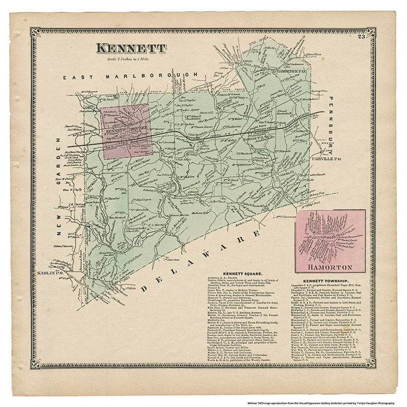 Kennett PA Witmer 1873 Map Reproduction image 0