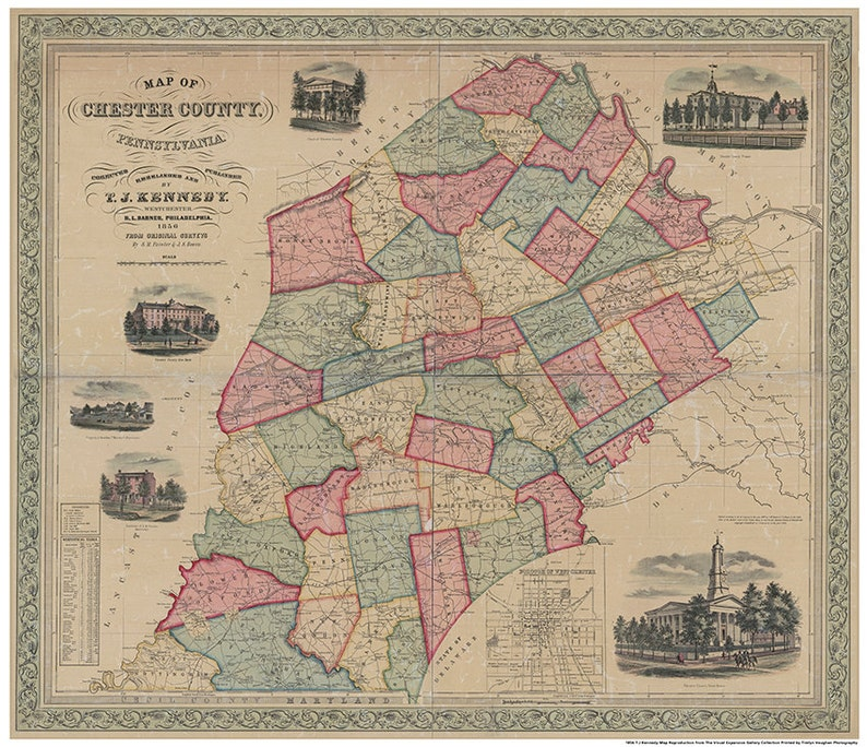 Chester County PA 1856 Reproduction image 0