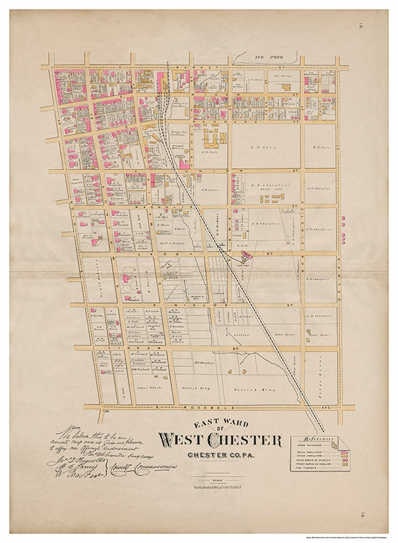 West Chester PA East Ward Breous Atlas 1883 Reproduction image 0