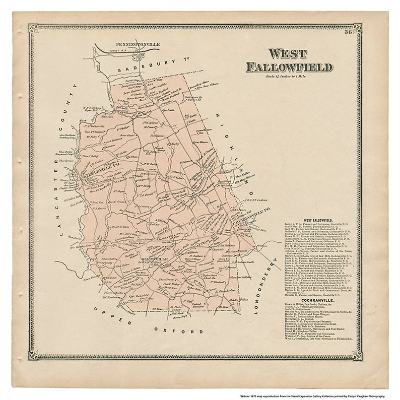 West Fallowfield  PA Witmer 1873 Map Reproduction image 0