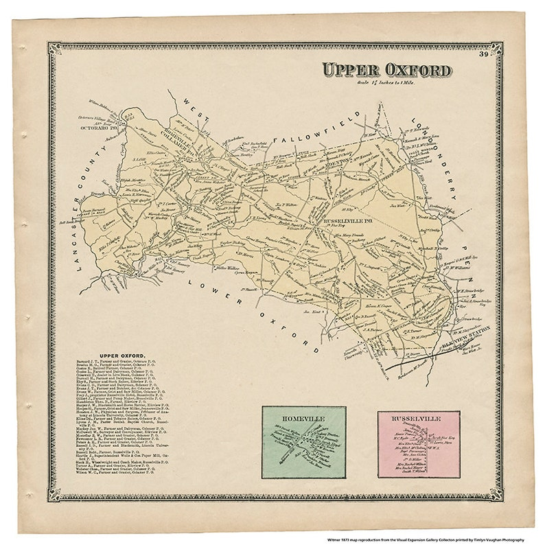 Upper Oxford PA Witmer 1873 Map Reproduction image 0