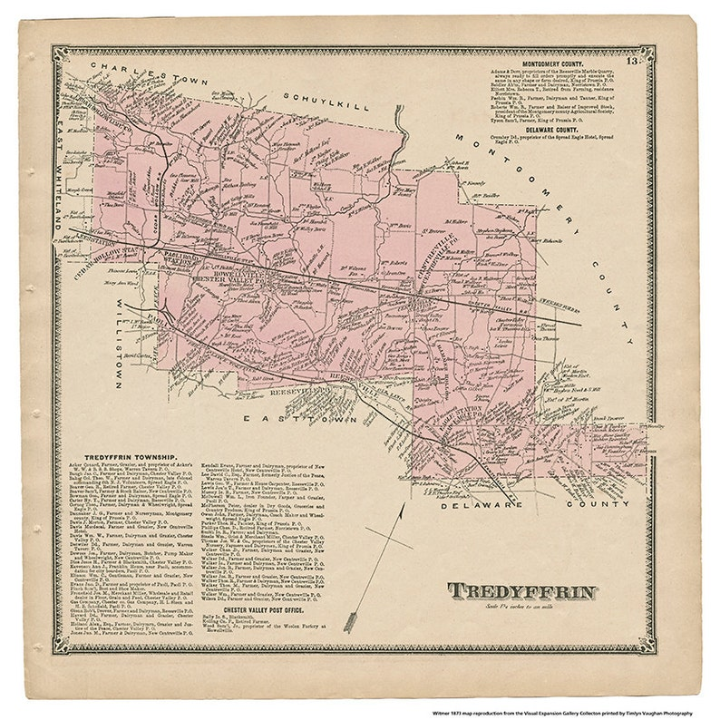 Tredyffrin PA Witmer 1873 Map Reproduction image 0