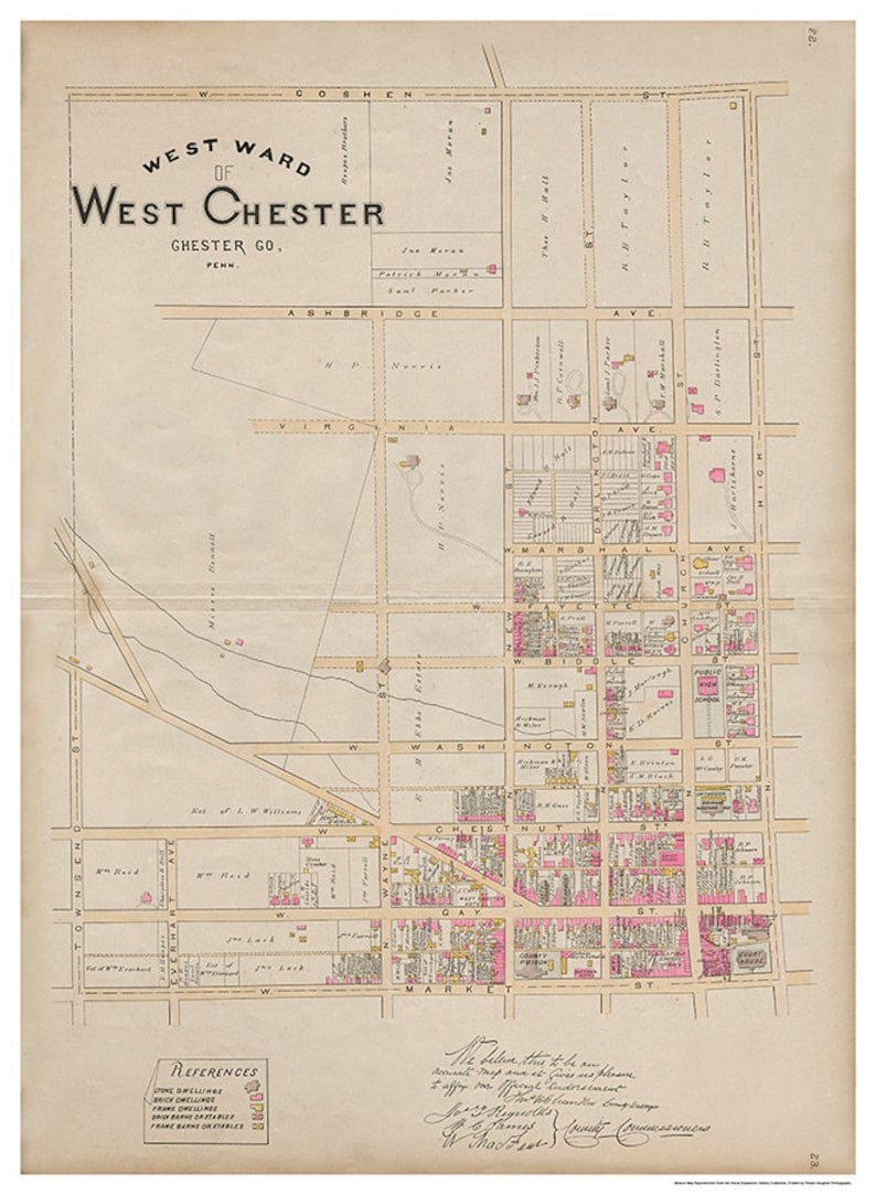 West Chester PA West Ward Breous Atlas 1883 Reproduction image 0