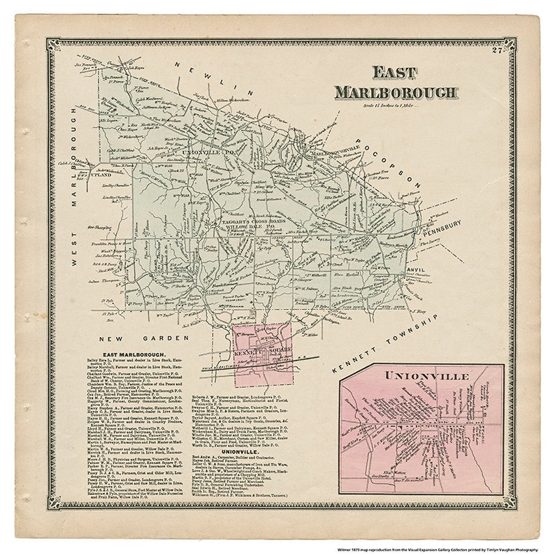 East Marlborough/ Unionville PA Witmer 1873 Map Reproduction image 0