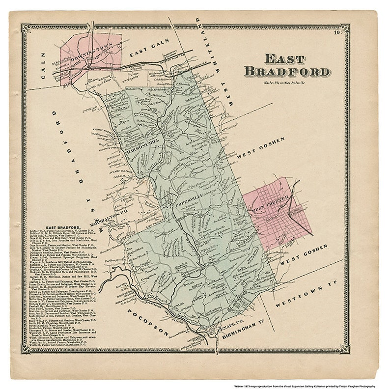 East Bradford PA Witmer 1873 Map Reproduction image 0