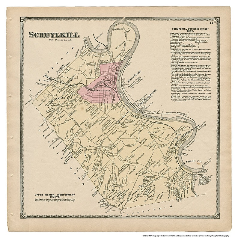 Schuylkill PA Witmer 1873 Map Reproduction image 0