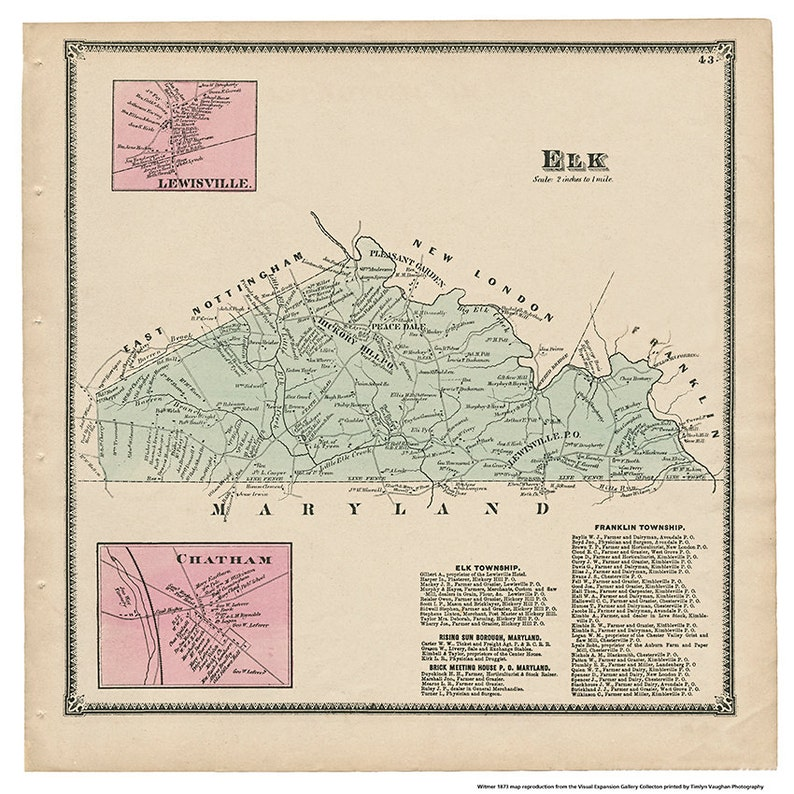 Elk Lewisville and Chatham PA Witmer 1873 Map Reproduction image 0