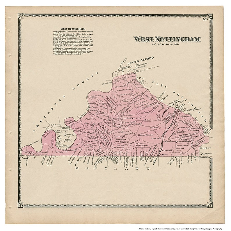 West Nottingham PA Witmer 1873 Map Reproduction image 0