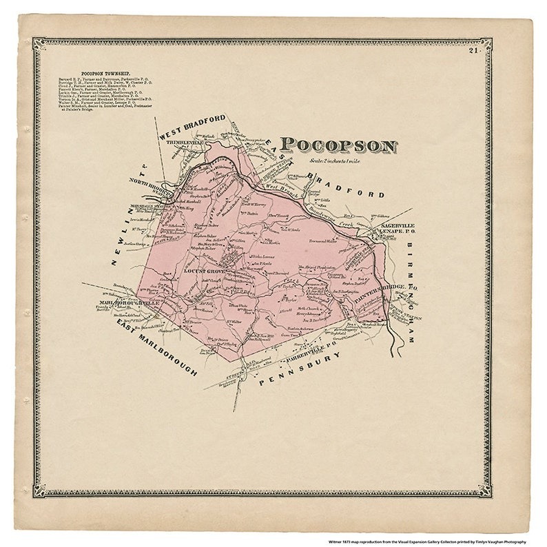 Pocopson PA Witmer 1873 Map Reproduction image 0