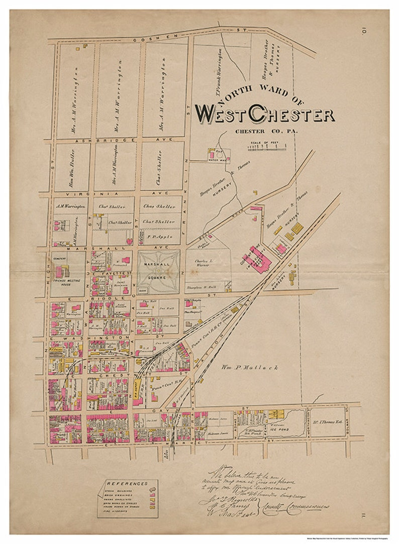 West Chester PA North Ward Breous Atlas 1883 Reproduction image 0