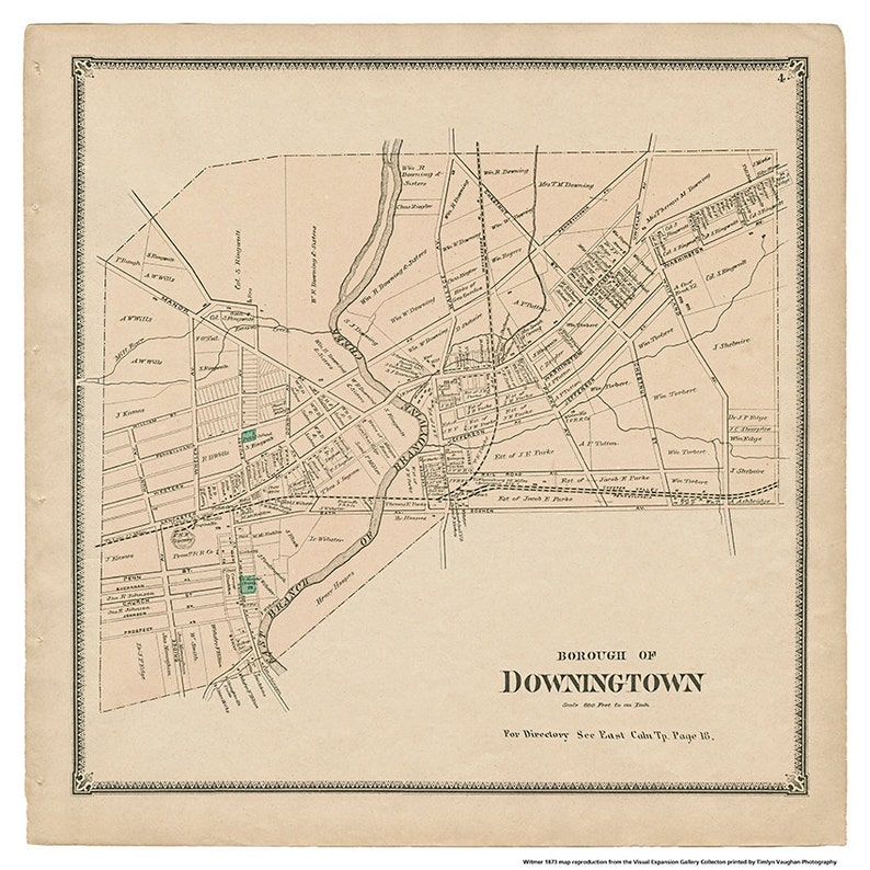 Downingtown PA Witmer Map Reproduction image 0