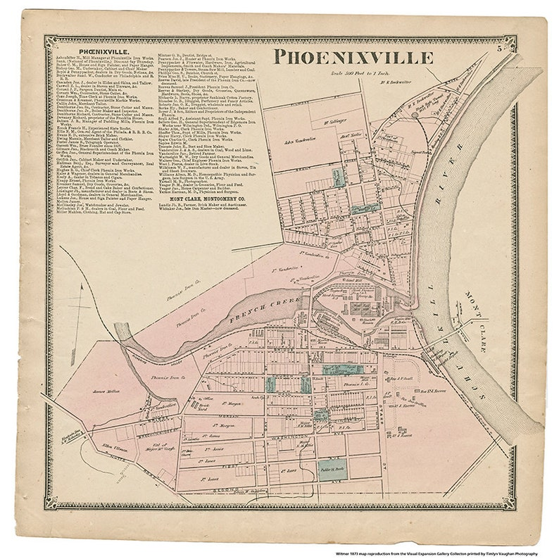 Phoenixville PA Witmer 1873 Map Reproduction image 0