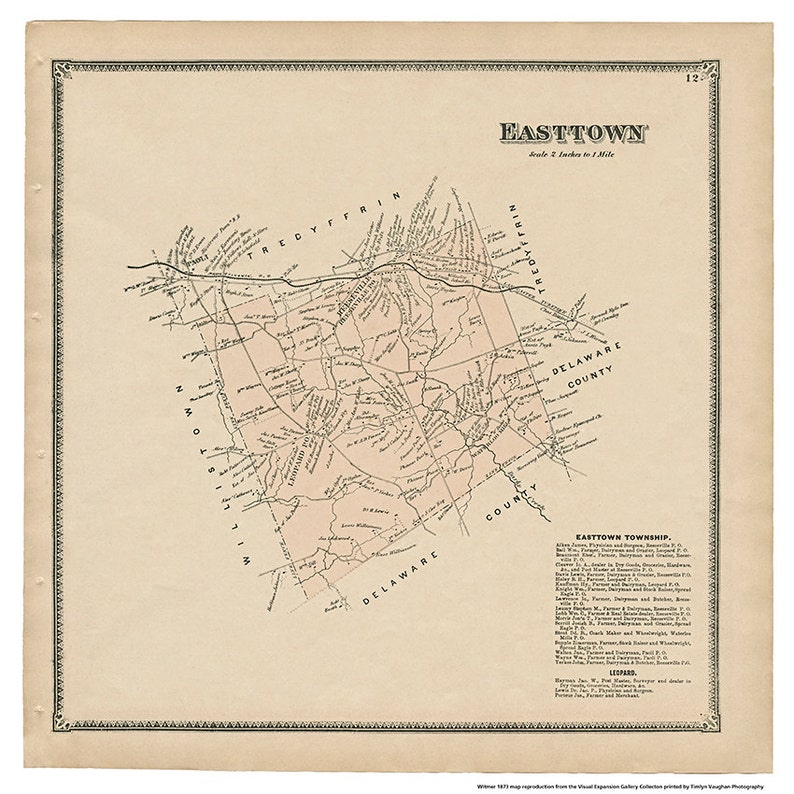 Easttown PA Witmer 1873 Map Reproduction image 0
