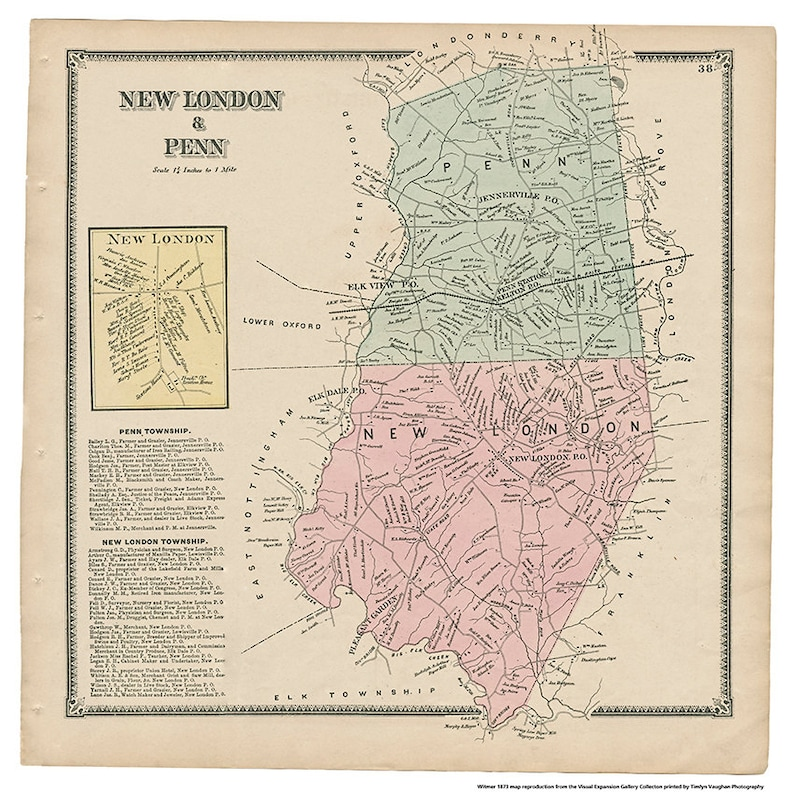 New London and Penn PA Witmer 1873 Map Reproduction image 0