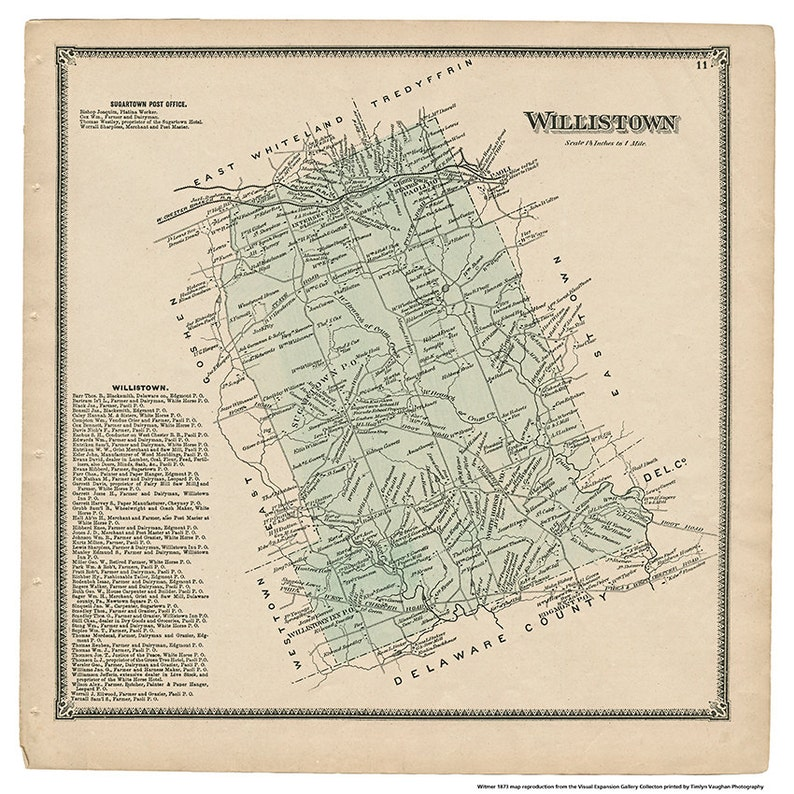 Willistown PA Witmer 1873 Map Reproduction image 0