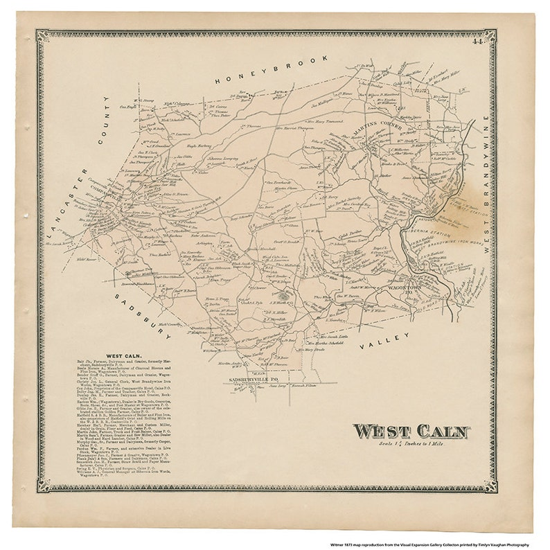 West Caln PA Witmer 1873 Map Reproduction image 0