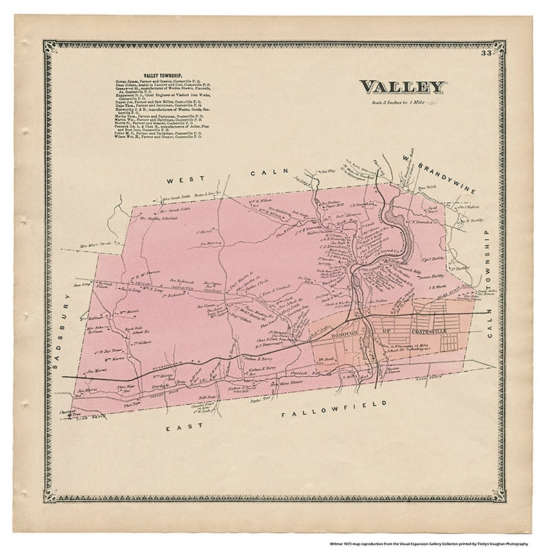 Valley  PA Witmer 1873 Map Reproduction image 0
