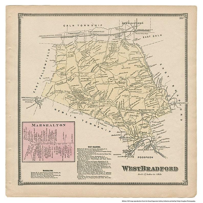 West Bradford Marshalton PA Witmer 1873 Map Reproduction image 0