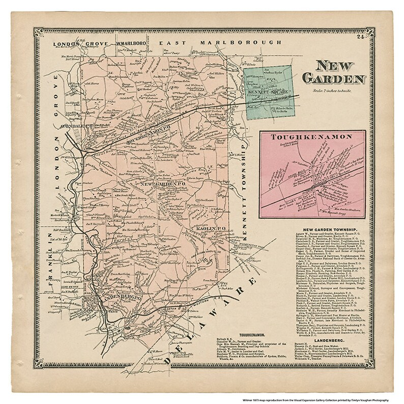New Garden PA Witmer 1873 Map Reproduction image 0