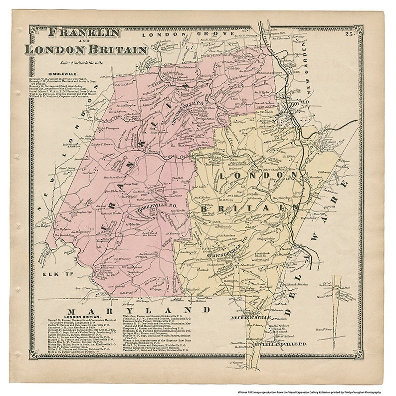 Franklin and London Britain PA Witmer 1873 Map Reproduction image 0