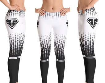 Workout Leggings, Women's Workout Clothes, Black and White Fitness Leggings, Gym Leggings