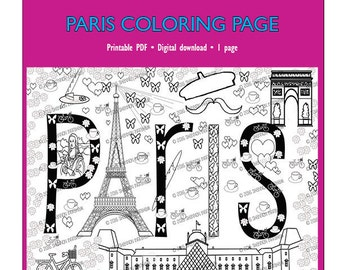 Paris Coloring Page for Adults or Kids | Coloring Page PDF Download for Trip Preparation or Just for Fun | Adults coloring | Coloring page