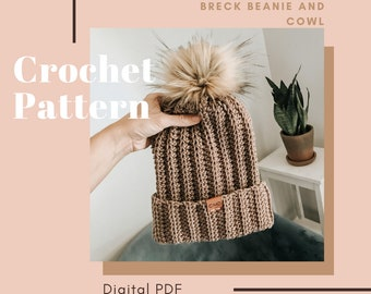 Crochet Pattern, The Breck Beanie and Cowl // Beanie Cowl Pattern  // Crochet Beanie, Crochet Cowl Pattern, Crochet Cowl