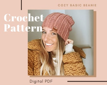 "Crochet Pattern, ""Cozy Basic Beanie"", beanie pattern"