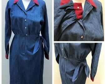 a0eb1e042e Vintage 80s 90s Wrap Dress Blue Denim Wrap Skirt Cotton Pearl Snap Tie Up Dress  Long Sleeve Jean Dress for Women Size 12 Grunge Clothing