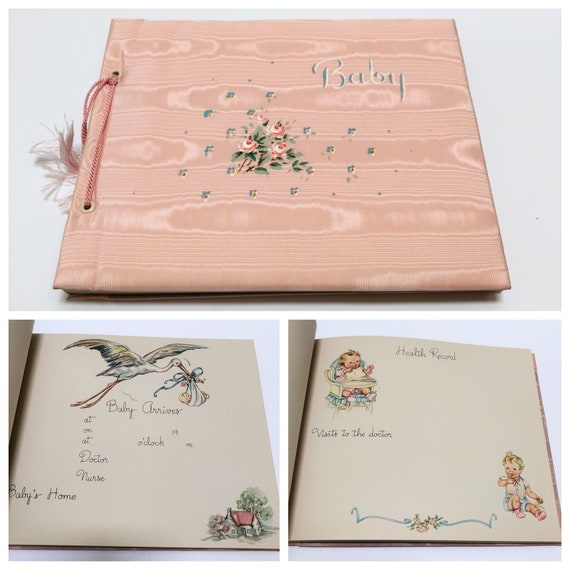 Vintage Baby Girl Scrapbook Album Keepsake Baby Book Pink Etsy