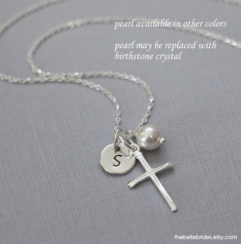 Personalized Cross Necklace Sterling Silver Cross Necklace image 0